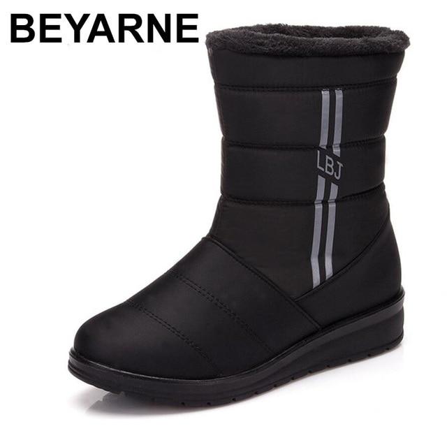 BEYARNEWaterproof נשים חורף מגפי FemaleShoes אמצע עגל HighDown גבירותיי מגפי שלג הנעל טריז גומי קטיפה מדרסים בוטה