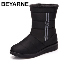 BEYARNEWaterproof Women Winter Boots FemaleShoes Mid Calf HighDown Boots Ladies Warm Snow Bootie Wedge Rubber Plush Insole Bota