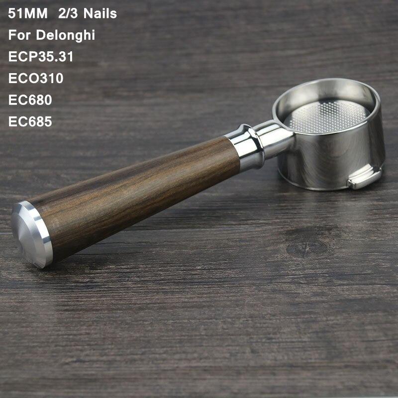 مرشح Portafilter بدون زجاجات 51 مللي متر ديلونجي EC680 EC685 eco310 ecp35.31Professional حامل مرشح بورتافلتر ديلونجي