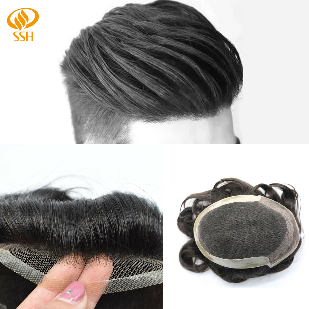 SSH Beached Knots Remy Human Hair Men's Hairpieces Fine French Lace Front Toupee Poly Skin Around Durable Man Wig Replacements