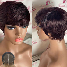 Atina Red 99J Burgundy 4x4 Lace Closure Wig Human Hair Colored Short Bob Wig Glueless Straight Pixie Cut Wig 150 Density Atina(China)