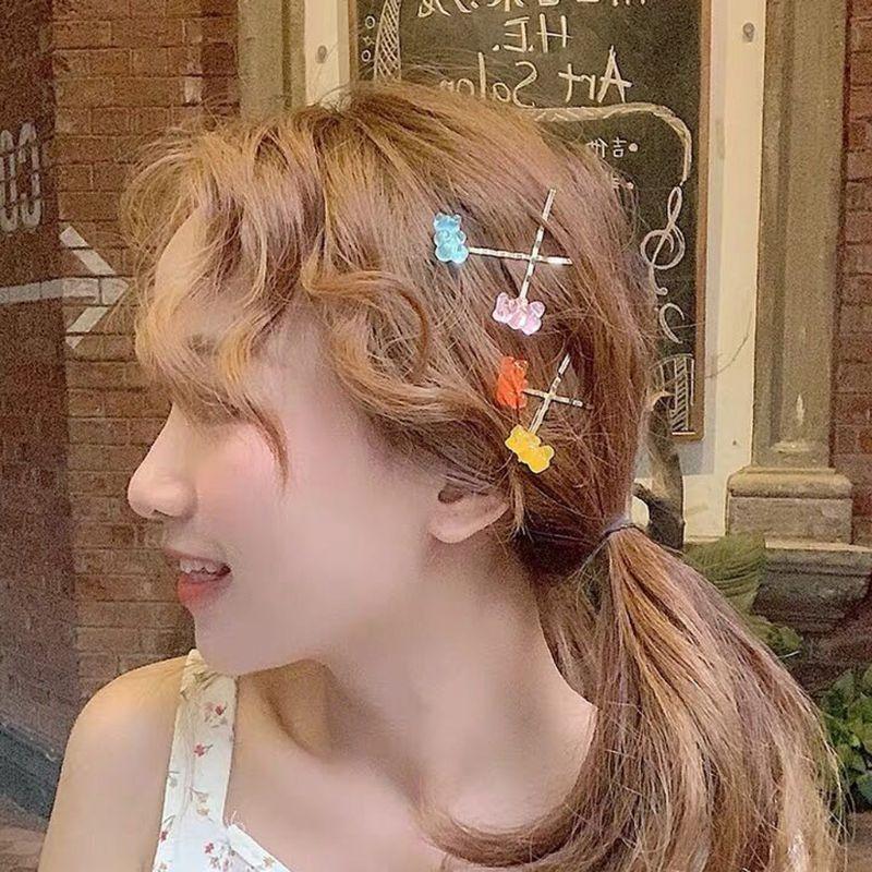 6 Candy Bears Hair Clips Barrettes Colored Bear Hairpin Women Girls Hairgrips Pins Hair Band Acccessories Hair Pins 6