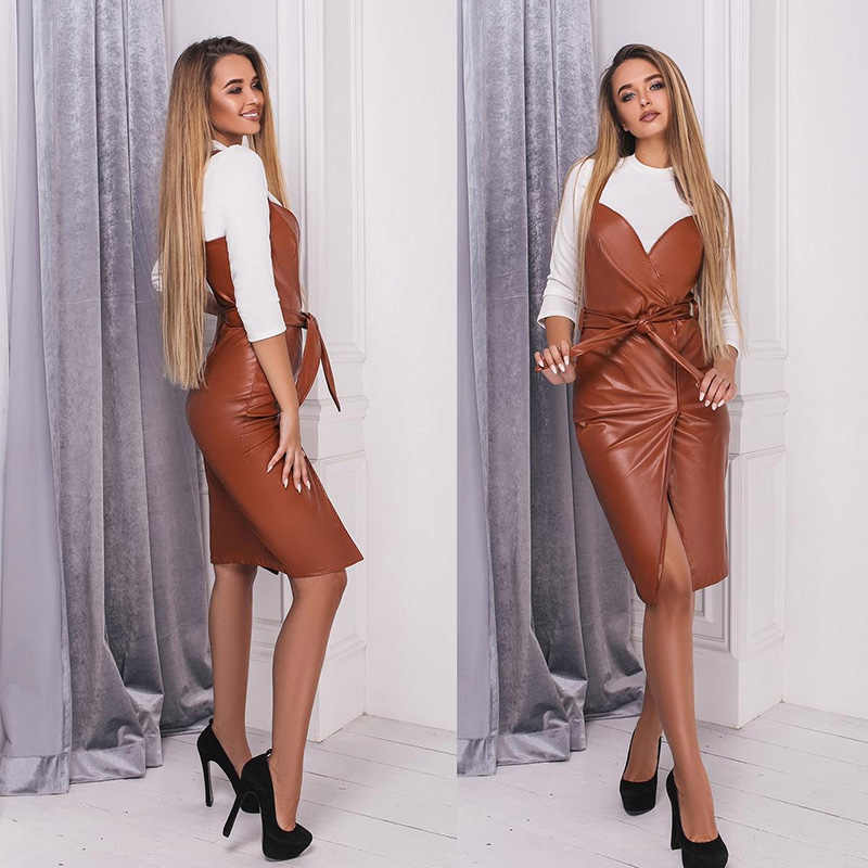 Vrouwen Sexy Sjerpen Pu Lederen Schede Party Dress Mouwloze Sling Strakke Cortex Winter Dress 2019 Nieuwe Mode Midi Jurk Vestidos