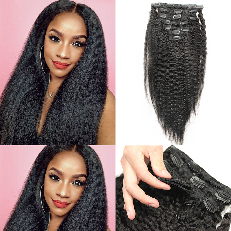 Coarse Yaki Kinky Straight Clip In Hair Extensions 100% Brazilian Human Virgin Hair 7 Pieces 120g/Set Natural Color Dolago 10-26