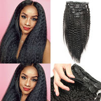 Coarse Yaki Kinky Straight Clip In Hair Extensions 100% Brazilian Human Virgin Hair 7 Pieces 120g/Set Natural Color Dolago 10 26