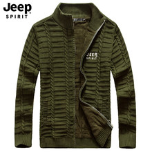 JEEP SPIRIT Brand Autumn Winter Sweater Men Fashion Solid Color Fleece Warm Wool Liner Knitted Wear Casual Sweatercoat Men(China)