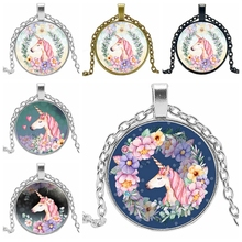 2019Vintage Handmade Cartoon Cute Unicorn Vintage Necklace Antique Bronze Chain Glass Horse Pendant Necklace Female Jewelry Gift 2019 explosion models unicorn glass necklace handmade anime cute tianma pendant long necklace birthday gift