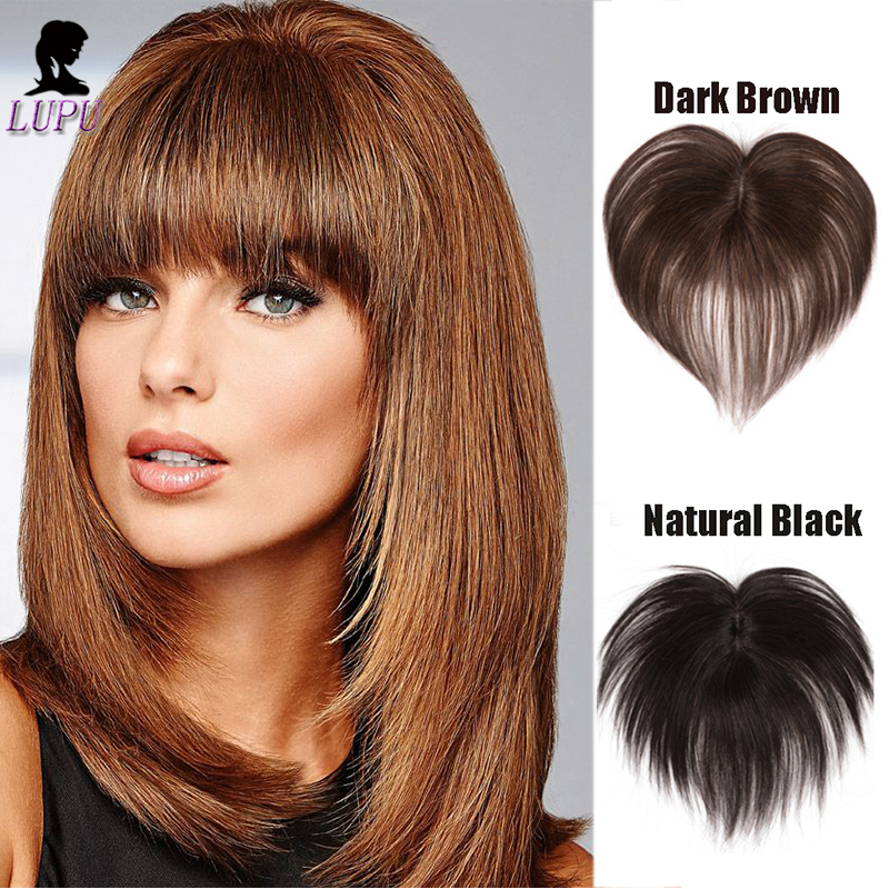 LUPU Natural Black Brown Synthetic Hair With Bangs Clip In Topper Toupee Hairpieces Heat Resistant  For Women
