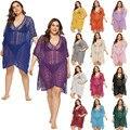 Plus Größe Gestrickte Häkeln Strand Kleider und Tuniken Gelb Aushöhlen Badeanzug Cover Up V-ausschnitt Unregelmäßigen Beachwear Rot 14 farben