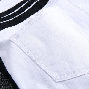 Image 5 - 2020 성격 스키니 청바지 남성용 화이트 블랙 패치 워크 찢어진 바지 패션 캐주얼 슬림 피트 바이커 힙합 데님 바지