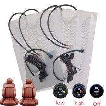 12v de fibra carbono kit aquecedor assento do carro interruptor redondo conjunto almofada universal assento calor almofadas inverno mais quente assento cobre conjunto