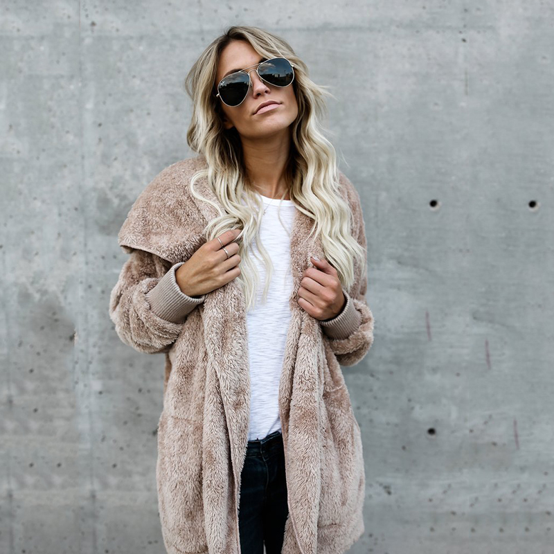 Harajuku Long Cardigan Women 2019 Spring Fashion Hooded Knit Sweater Women Jumper Outerwear Warm Fur Coat Pull Femme Hiver