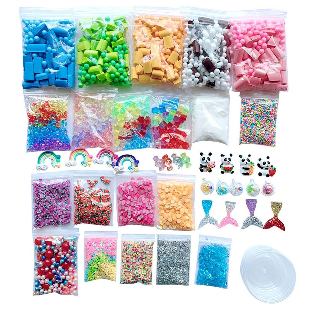 46 Pack Making Kits Supplies For Slime Stuff Charm Fishbowl Beads Glitter Pearls DIY Handmade Color Foam Ball Material Set @A