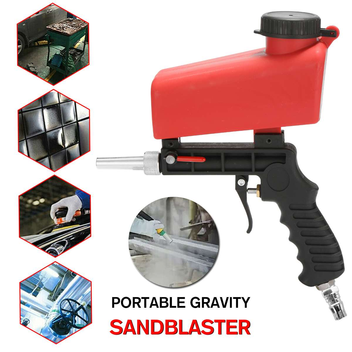90psi Portable Gravity Sandblasting Guns Aluminium Pneumatic Sandblaster Spray Guns Sand Removal Blasting Power Machine