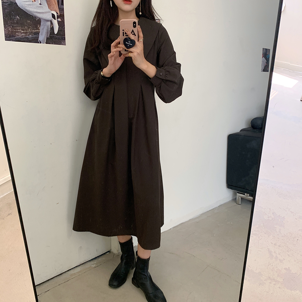 Hb7325cfc03354c888452138bf7f18d53T - Autumn Big Lapel Collar Long Lantern Sleeves Solid Loose Midi Dress