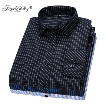 Men Shirt Long Sleeve Shirts Twill Plaid Fashion
