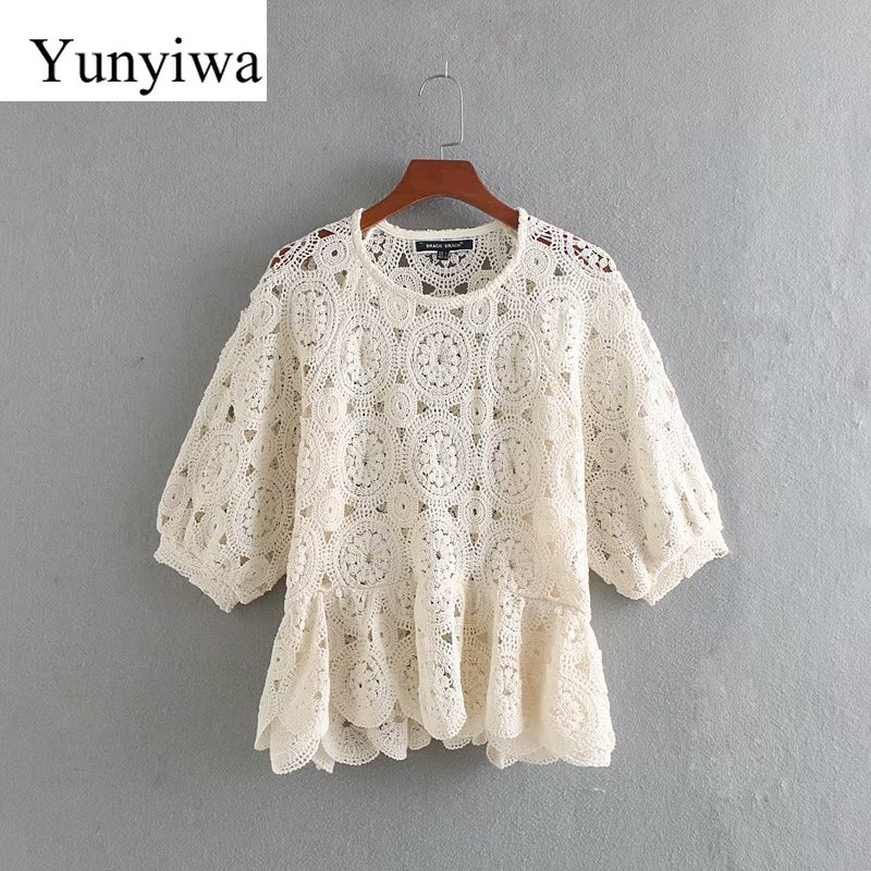 New Women Sexy Hollow Out Knitted Casual Blouse Shirts Women O Neck Short Sleeve Lace Crochet Femininas Blusas Chic Tops