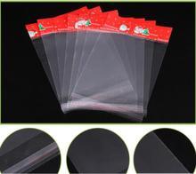100pcs / Lot Christmas Gift Bag Cartoon Santa Claus Self-adhesive Transparent Opp Plastic
