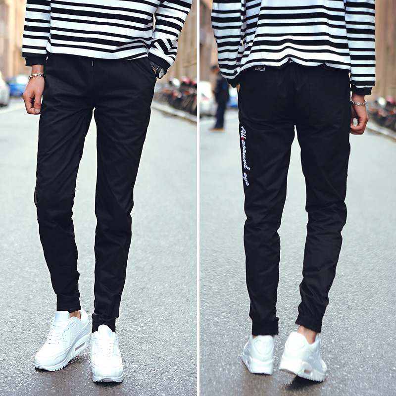 Workwear Pants Men Korean-style Trend Slim Fit Thin Beam Leg Capri Pants Summer New Style Casual Students Athletic Pants