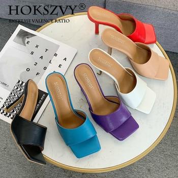 цена HOKSVZY 2020  Summer Women Sandals Square Toe Ladies Heel Mules Sexy Thin High Heels Sandals Fashion Open Toe Woman Shoes ZML онлайн в 2017 году