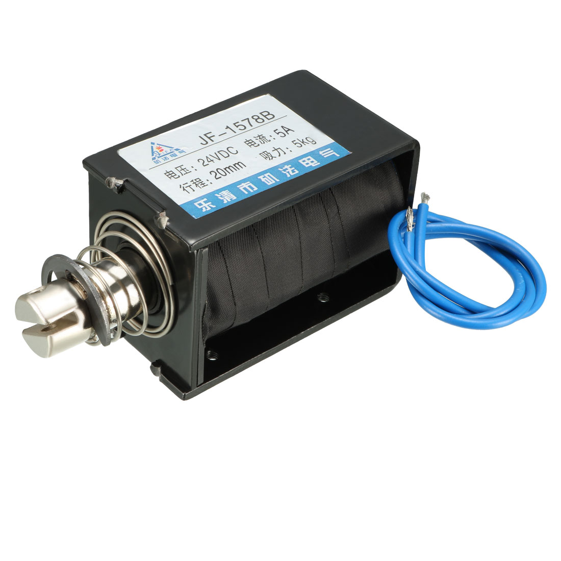 Uxcell JF-1578B DC 24V 5A 5KG 20mm Pull Push Type Open Frame Linear Motion Solenoid Electromagnet