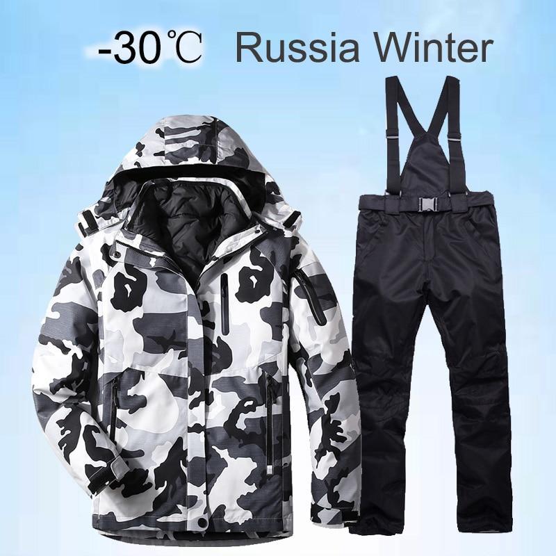 Terno de Esqui dos Homens Quente à Prova de Vento à Prova Esportes ao ar Jaqueta de Neve e Calças de Esqui Russo Inverno Dwaterproof Água Livre Snowboard Marca