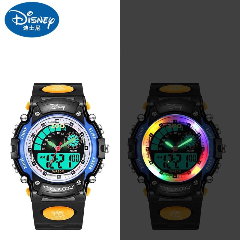Disney Original Kids Dual Display Sports Wrist Watch 50M Waterproof Boy Girl Children Stop Watch Alarm Race Light Calendar Gift