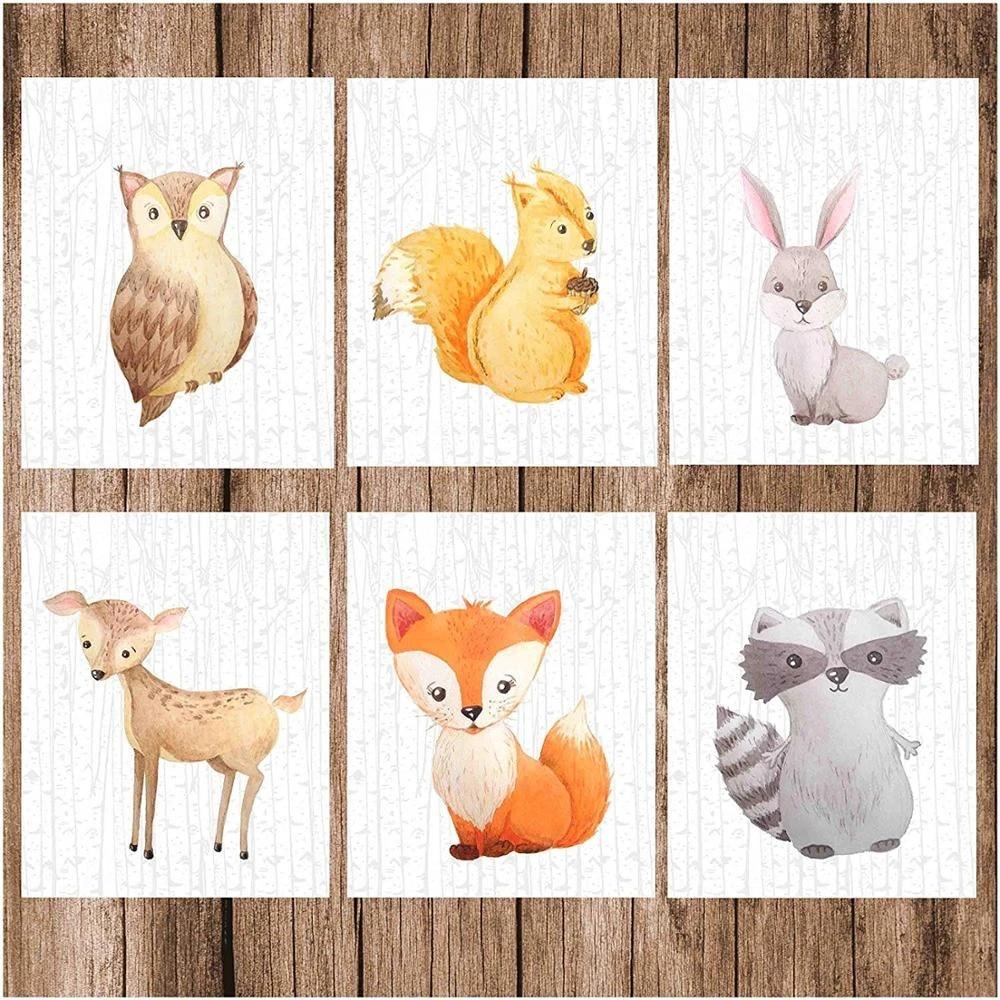 Watercolor Clip Art Rabbit Woodland Squirrel Skunk Fox Personal Use Forest Animals Acorn Raccoon Chipmunk Creatures