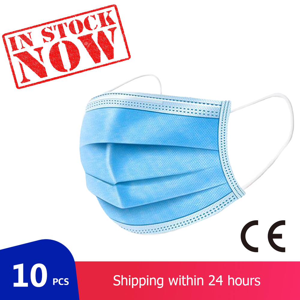 3 Layers Non-woven Mask Disposable Mouth Masks 10 PCS Face Protection Mask Dustproof Masks