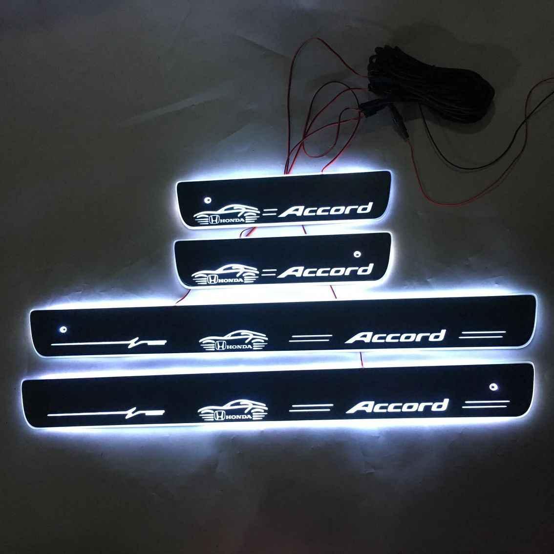 Aplicar para accord porta dinâmica led lâmpada peitoril scuff placa pedal bem vindo estilo do carro twinkle soleiras de iluminação para honda accord