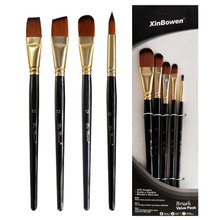 5pcs/Set Nylon Hair brush Brush Set Round Flat Acrylic DIY Watercolor Pen Oil Paint  for Artists Painters Beginners
