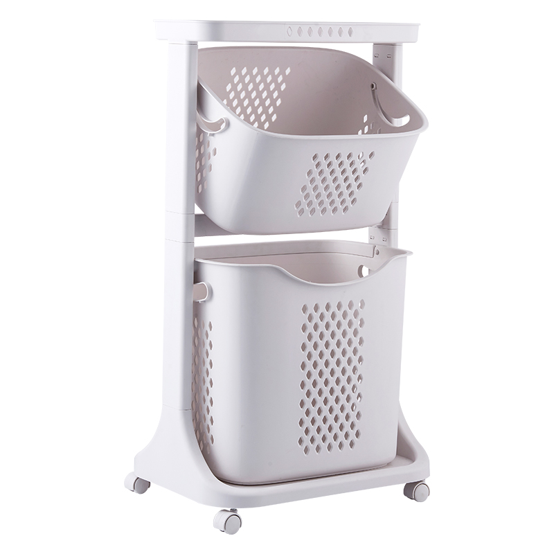 Large Capacity Dirty Laundry Basket with Caster Multi-layers Clothes Toy Vegetable Organizer Storage Basket with Handle Plastic