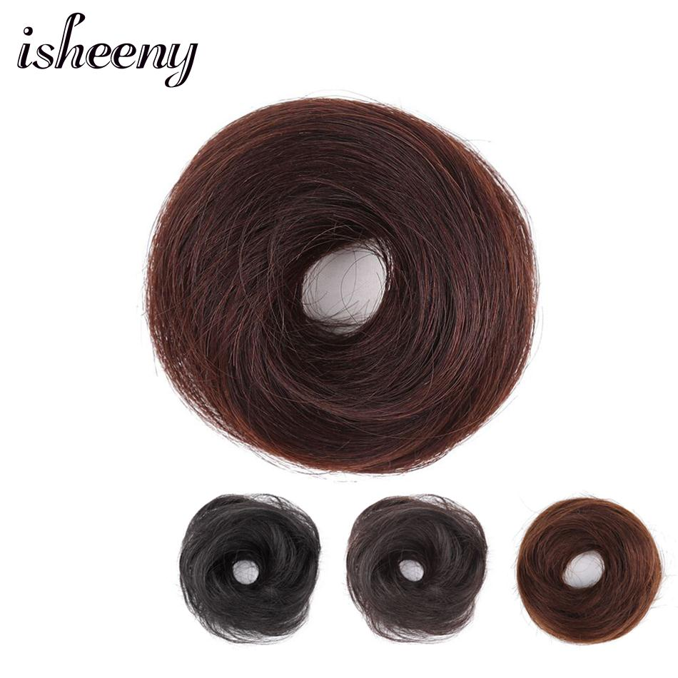 Isheeny European Human Hair Remy Rubber Band Chignon 17g Black Brown Natural Dount Chignon 4 Colors 100% Human Hair Pure Color