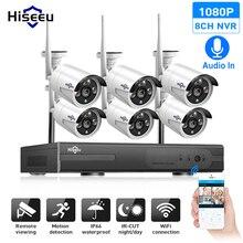 Hiseeu 8CH نظام كاميرا CCTV اللاسلكية 6 قطعة 1080P واي فاي كاميرا IP في الهواء الطلق أمن الوطن نظام مراقبة بالفيديو طقم NVR