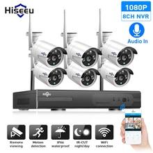 Hiseeu 8CH CCTV Camera System Wireless 6pcs 1080P wifi IP Camera Outdoor Home Security Video Surveillance System NVR kit