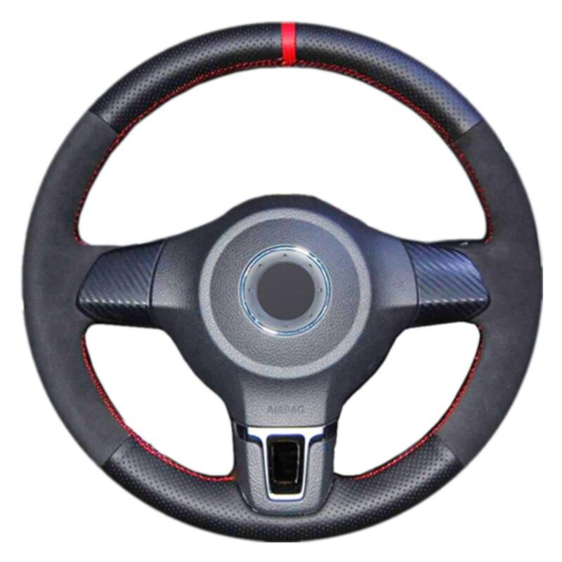 Black Genuine Leather Suede Car Steering Wheel Cover for Volkswagen Golf 6 Mk6 VW Polo Sagitar Bora Santana Jetta MK5|Steering Covers|Automobiles & Motorcycles - title=