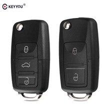 KEYYOU-funda plegable de 2 botones para llave remota de coche, carcasa de llave abatible plegable para Volkswagen Vw Jetta Golf Passat Beetle Skoda Seat Polo B5