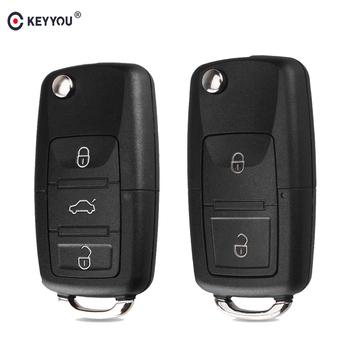 KEYYOU 2 przycisk składany kluczyk samochodowy z pilotem składane klucze Case dla volkswagena Vw Jetta Golf Passat Beetle siedzenie do skody Polo B5 tanie i dobre opinie For Volkswagen In China For VW CARAVELLE 2008!! For VW Polo 2012 Key