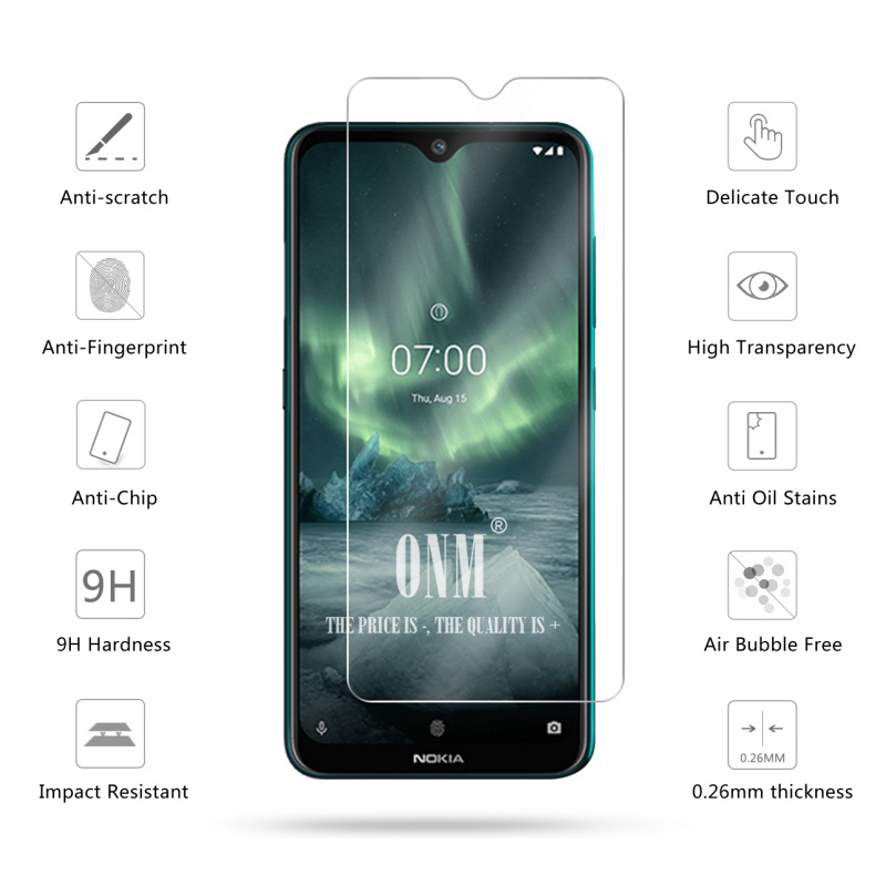 Image 2 - 2Pcs Tempered Glass For NOKIA 7.2 6.2 4.2 3 V 3.1 C 3.1 A 2.2 3.2 4.2 Screen Protector 9H Tempered Glass For Nokia 1 Plus X71-in Phone Screen Protectors from Cellphones & Telecommunications