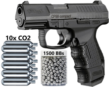 Umarex walther cp99 compact-blowback co2. 177 cal pistola de ar bb-345 fps parede estanho sinal