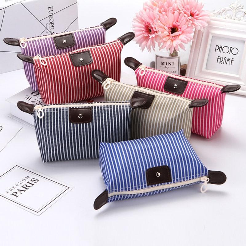 2019 New Pu Leather Striped Dumpling Cosmetic Bag Fashion Casual Folding Waterproof Toiletry Makeup Bags