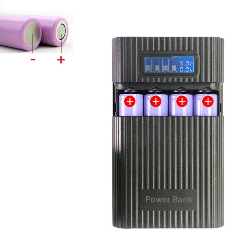 Caja de Banco de energía 4x18650, cargador de batería con pantalla LCD, Anti-reverso, bricolaje, para iphone