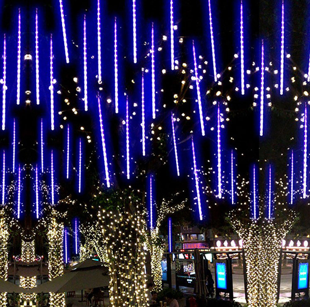lowest price New Year 30 50 80cm Outdoor Meteor Shower Rain 8 Tubes LED String Lights Waterproof For Tree Christmas Wedding Party Decoration
