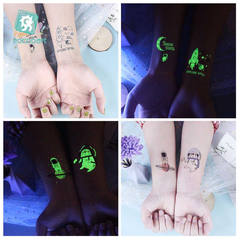 Rocooart küçük dövme aydınlık dövme çıkartmalar karikatür uzay gezegen sahte dövme çocuklar için parlayan su geçirmez Temporarie Tatouage
