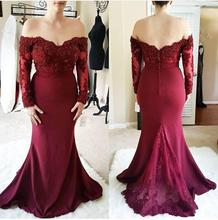 2020 New Burgundy Long Sleeves Mermaid Bridesmaid Dresses Off Shoulder Lace Appliques Beads Wedding Guest Dress Formal dress burgundy one shoulder bat sleeves knitted dress