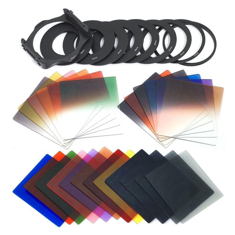 ABKK-24pcs Square Full + Graduated Filter Set + 9 Size Adapter Ring Filter Holder For Cokin P Series LF78