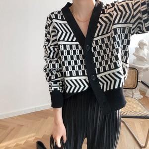 Image 3 - Women V neck Cardigan Sweater Coat 2019 Autumn Winter New Fashion Casual Comfortable Wild Patchwork Knit Cardigan Women Sweater