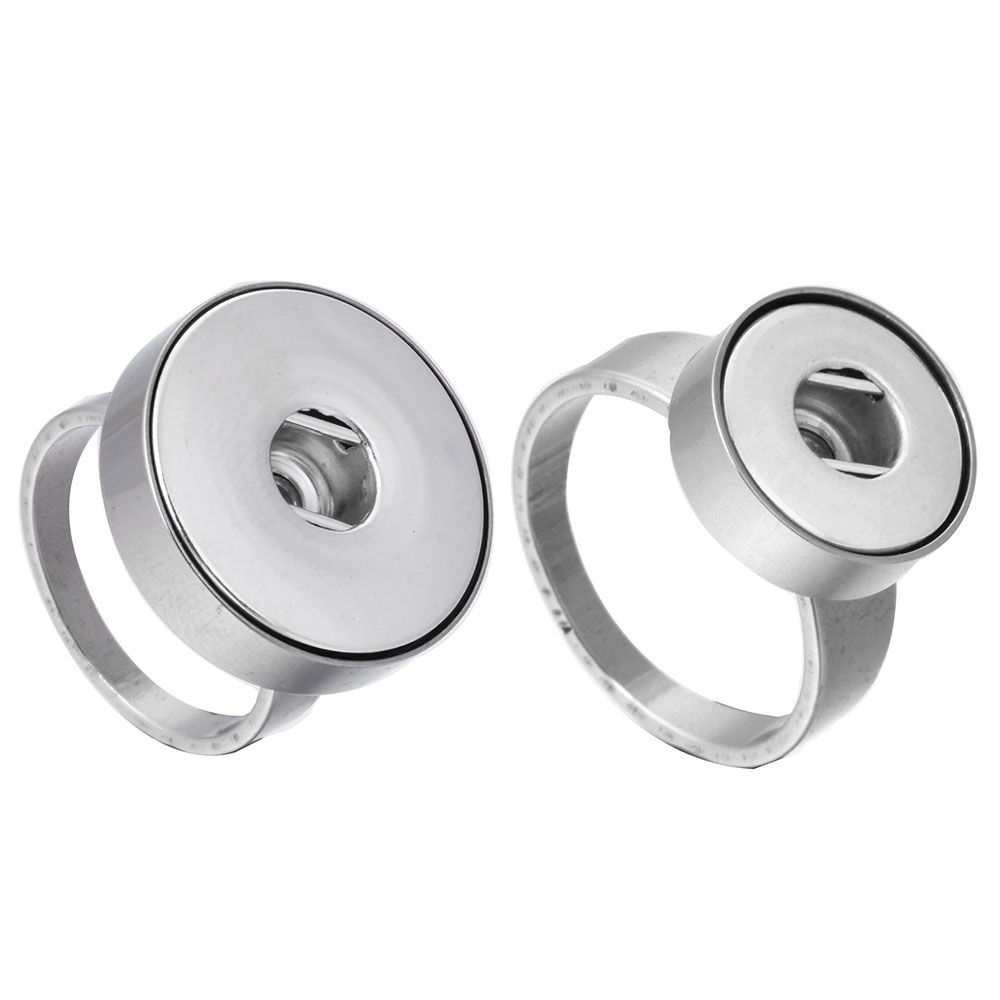 New Snaps Jewelry Real Stainless Steel Ring 12mm 18mm Snap Button Ring High Quality Snap Rings Buttons Jewelry for Women image
