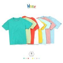 Hnne Children 100% Cotton Short Sleeve T-shirt Soft Breathable Unisex Boys Girls Tops