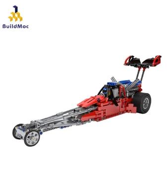BuildMoc The Drag Formula Racing Car Model Building Blocks Sets Educational DIY Bricks Toys Compatible Technic 7869